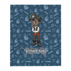 Pirate Kids Lil Captain Throw Blanket - BLK