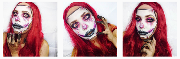 original mask makeup with white and red spiral color lenses