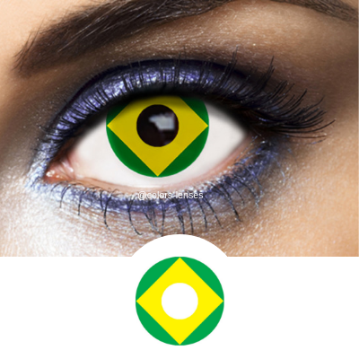 Green and Yellow Color Lenses Flag Brazil - 1 Year Use