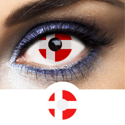 Red and White Color Lenses Flag Denmark - 1 Year Use