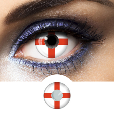 Red and White Color Lenses Flag England - 1 Year Use
