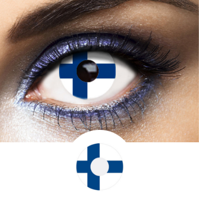 Blue and White Color Lenses Flag Finland - 1 Year Use