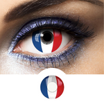 Blue, White and Red Contact Lenses Flag France - 1 Year