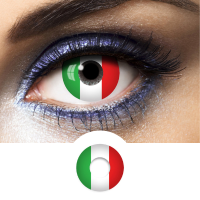 Green White and Red Contact Lenses Flag Italy - 1 Year