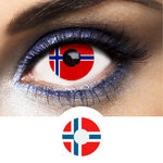 Red, Blue and White Color Lenses Flag Norway - 1 Year Use