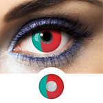 red and green portugal flag contact lenses