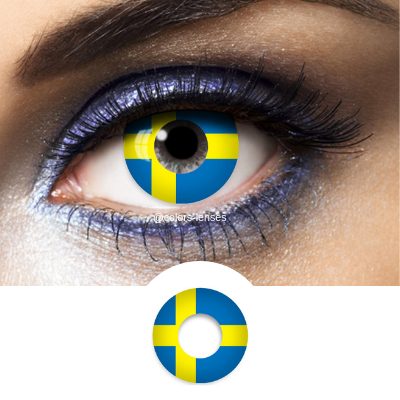 Blue and Yellow Contact Lenses Flag Sweden - 1 Year