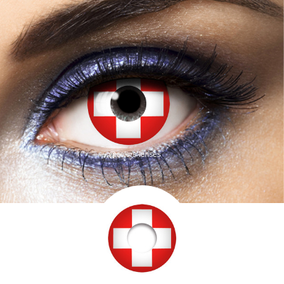 Red and White Color Lenses Flag Switzerland - 1 Year Use