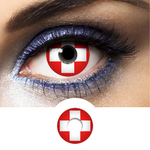 red and white contact lenses swiss