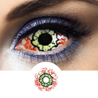 Green and Red Contacts Sclera Kurse - Crazy Lenses 1 Year