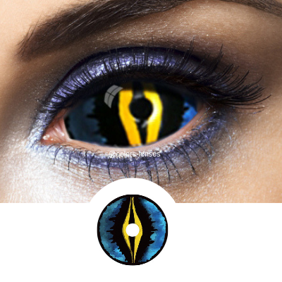 Amazing disguise with worm blue sclera lenses