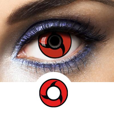Red and Black Crazy Lenses Sharingan SH-L9 - 1 Year Use from Naruto manga