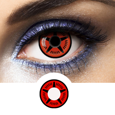 Red and Black Crazy Lenses Sharingan SH-M8 - 1 Year Use from Naruto manga