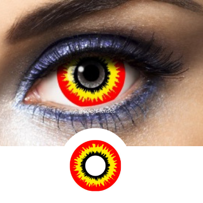 Red and Yellow Contact Lenses Mini Sclera Scream - 1 Year