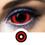Scary face with black and red contacts sclera