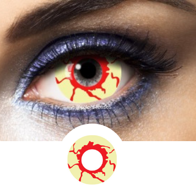 Yellow and Red Contacts Mini Sclera Skull - 1 Year