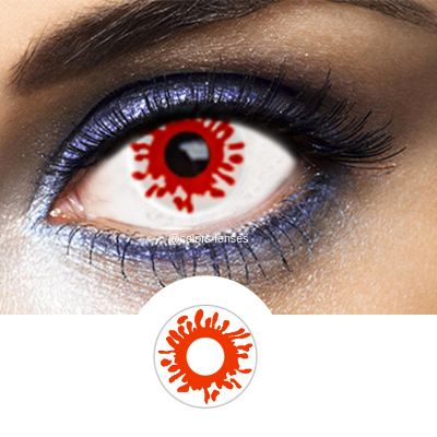 red and white fantasy contact lenses