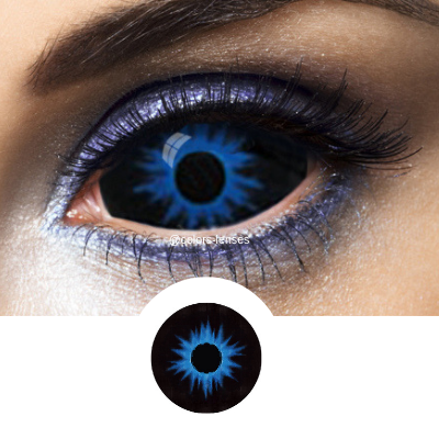 blue and black sclera contact lenses halloween