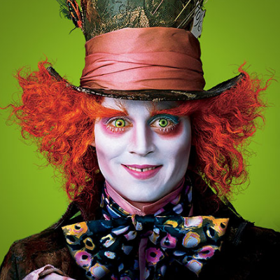 Johnny Deep playing Mad Hatter in the last movie Alice in Wonderland