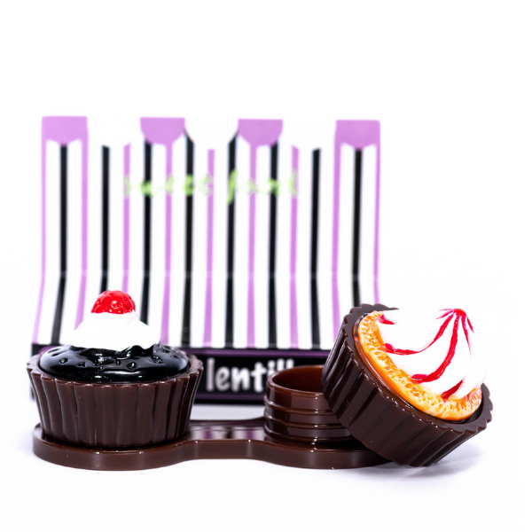 dark brown case holder cupcake for contact lens