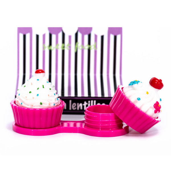 Dark pink cupcake contact lenses case holder