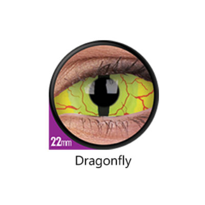 Yellow Color Lenses Dragonfly Sclera 22 mm ColourVue - Crazy Lenses 6 months use