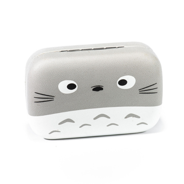 Gray and white kit contact lenses case holder Bear Totoro Gray and White with MOUSTACHE - 4