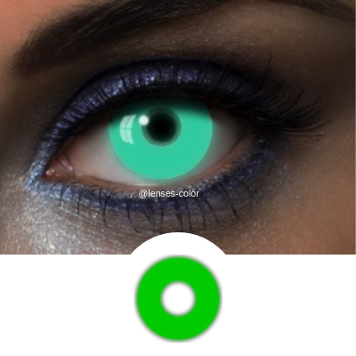 Green Contacts UV Glow Green - Crazy Lenses of 1 Year Use