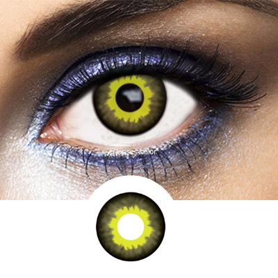 Black and Yellow Contacts Eclipse - Crazy Lenses of 1 Year Use