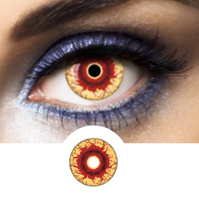 Red and yellow crazy lenses cosplay or halloween