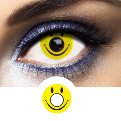 Black and Yellow Contacts Smiley - Crazy Lenses of 1 Year Use