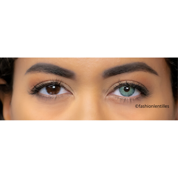 preview of green color lenses on brown eyes