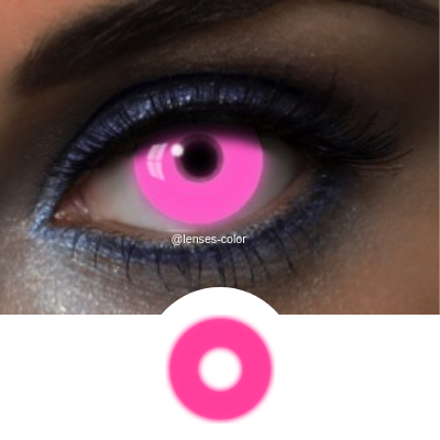 Pink Contacts UV Glow Pink - Crazy Lenses of 1 Year Use