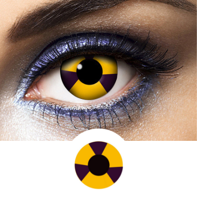 Black and Yellow Contacts Radioactive - Crazy Lenses of 1 Year Use