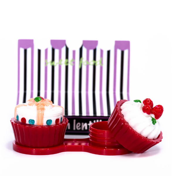 red case holder cupcake for color lenses