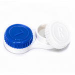 White and blue contact lenses case holder