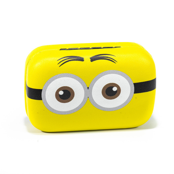 Yellow kit contact lenses case holder The Minions TWO BROWN EYES - 1