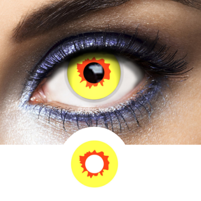 yellow red contact lenses halloween