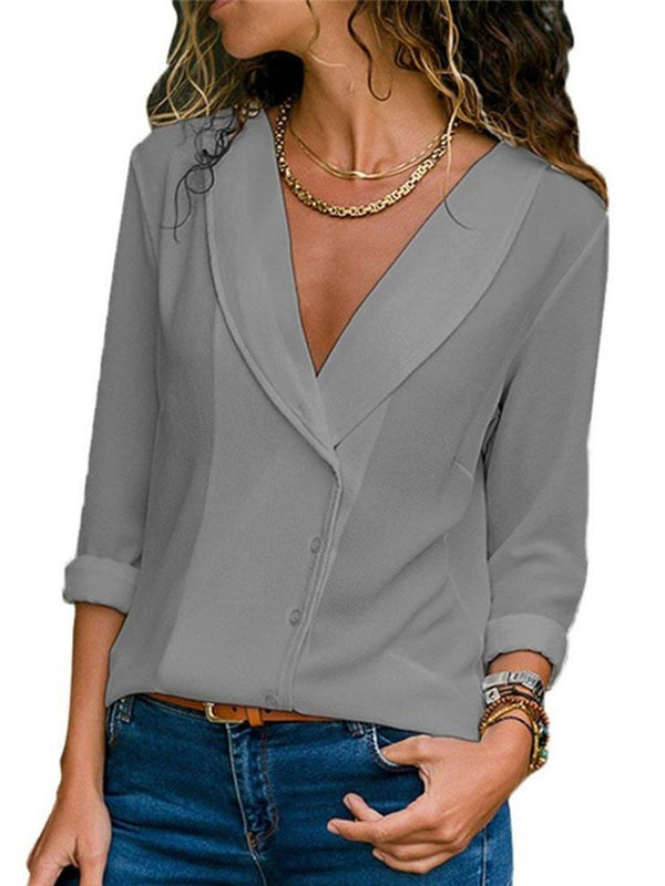 Plain Regular Standard Long Sleeve Blouse