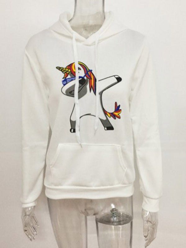Regular Cartoon Print Standard Long Sleeve Hoodie