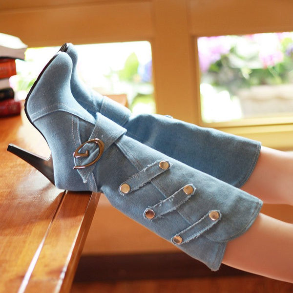 Plain Slip-On Stiletto Heel Round Toe Buckle Casual Boots