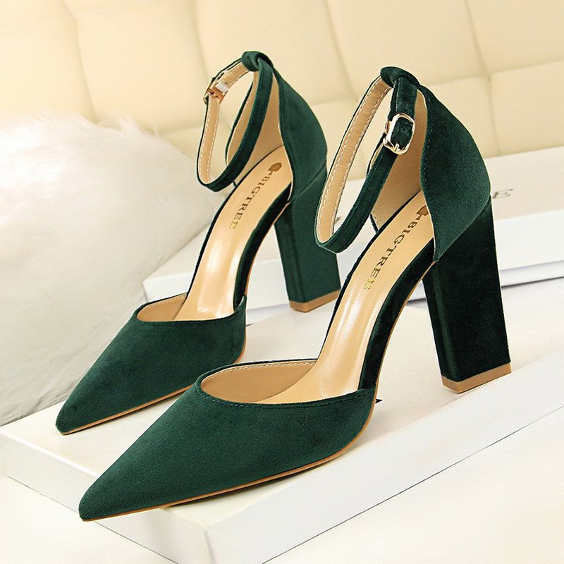 Chunky Heel Pointed Toe Line-Style Buckle Plain Low-Cut Upper Thin Shoes