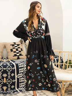 Long Sleeve Ankle-Length Stringy Selvedge Flare Sleeve Expansion Dress