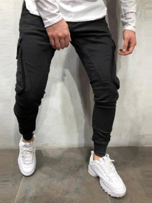 Overall Plain Patchwork Casual Fall Casual Pants