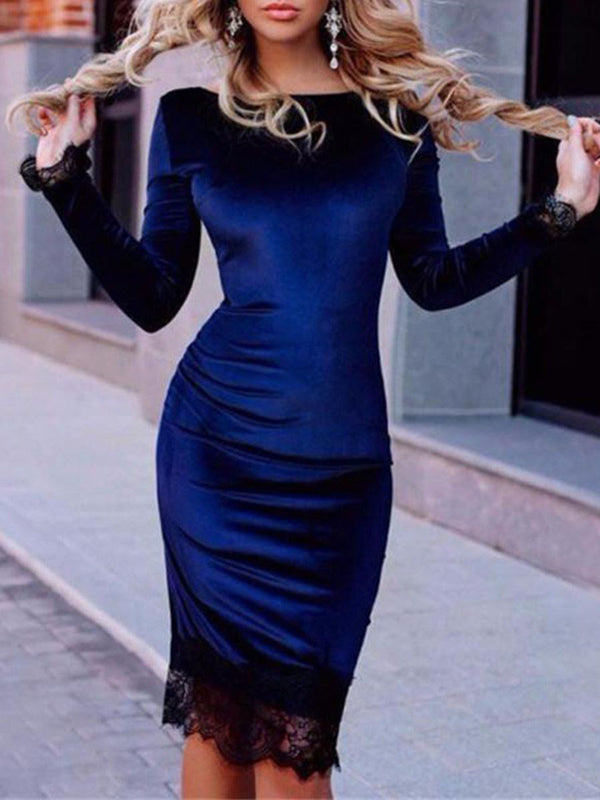 Knee-Length Long Sleeve Round Neck Pullover Dress Dress