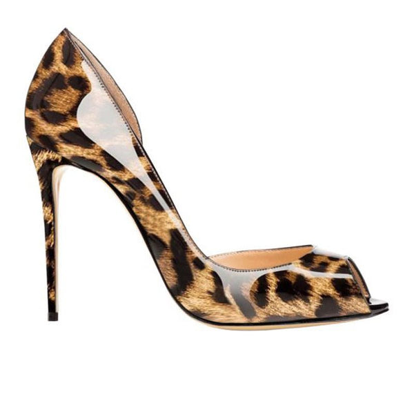 Stiletto Heel Slip-On Peep Toe Leopard Low-Cut Upper Thin Shoes