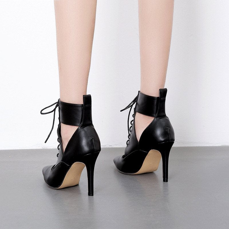 Stiletto Heel Lace-Up Hollow Pointed Toe Casual 9cm Thin Shoes