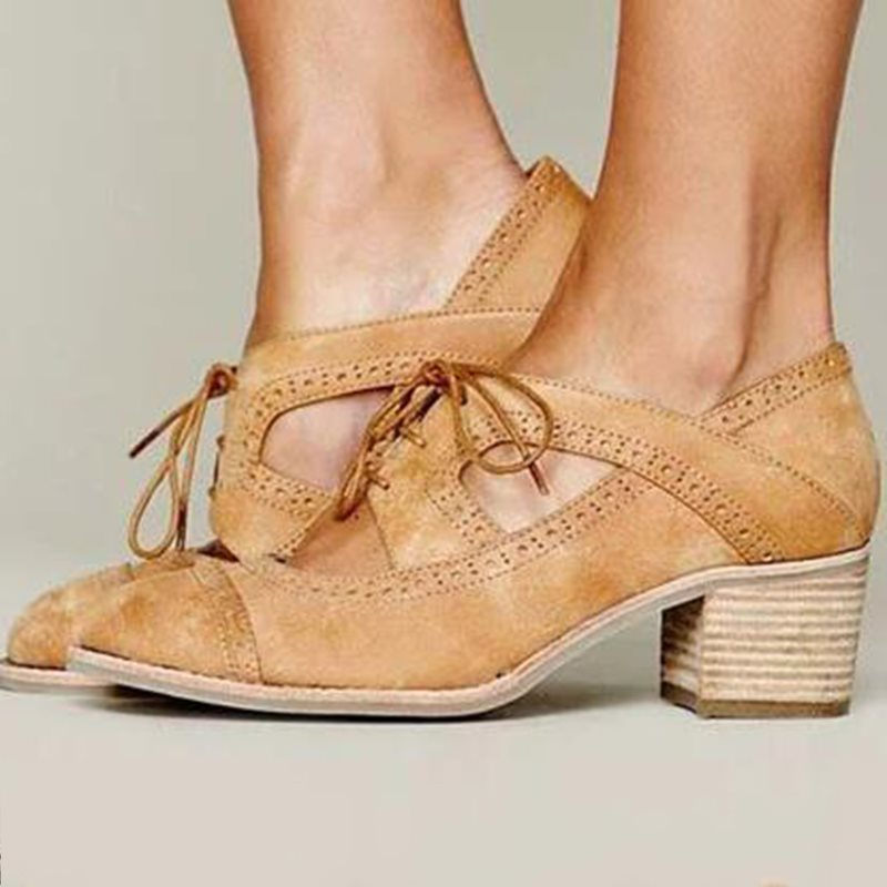 Round Toe Chunky Heel Hollow Lace-Up Casual Mid-Heel Thin Shoes