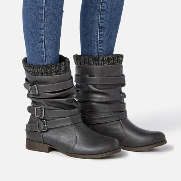 Plain Buckle Low Heel Slip-On Women's Boots
