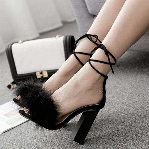 Open Toe Heel Covering Chunky Heel Lace-Up Plain Casual Sandals